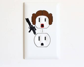 Princess Leia - Star Wars - Electric Outlet Wall Art Sticker Decal