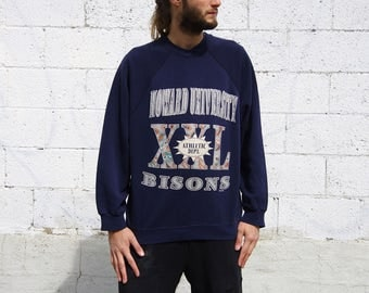 90's HOWARD UNIVERSITY athletic department blue sweatshirt size xxl