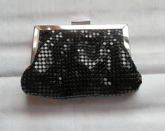 Small Vintage Black  Evening Clutch Bag / Purse with Silver Tone Clasp and Red Lining