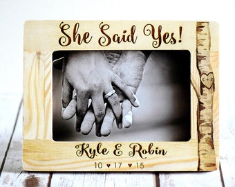 Engagement Gift, Engagement gifts, engraved, She Said Yes Frame, Bridal shower gift, bride to be gift, Wedding Gift, Engagement Gift ideas