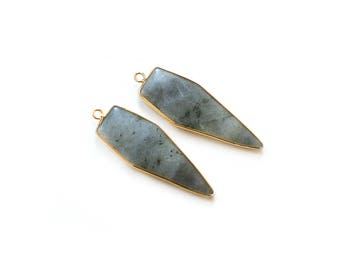 Grey Labradorite Pendant - Gold plated Bezel - 1 pc