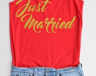 Gold Glitter Just Married -Racer back,Bridal shirt,Bridal tank top,Bride shirt,Team bride tank top,Bachelorette Party Tank Top,Wedding Shirt