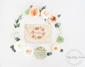 Personalized Makeup Bag | Personalized Pouch | Bridesmaid Gift | Blush and Peach Floral | Personalized Zipper Pouch | Gift for Her