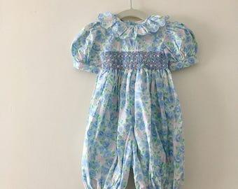 Sweet Floral Vintage Smocked Jumpsuit - Size 6 months