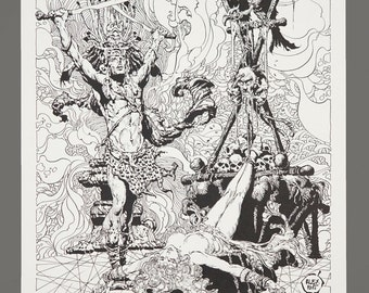 1978 Alex Nino The Dark Suns Of Gruaga Portfolio Plate #1 SACRIFICE 11 x 16 Black & White Art 752/1000 Limited Edition