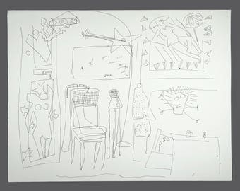 1990s Dennis Jose Chicago Artist Abstract Drawing Ink On Paper 18 x 23.5