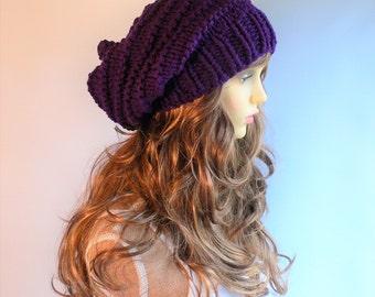 Knit Hat Women Purple Knit Hat Goth Hat Pixie Hat Slouchy Knit Hat Slouch Beanie Hand Knit Hat Knit Beanie Woodland Clothing