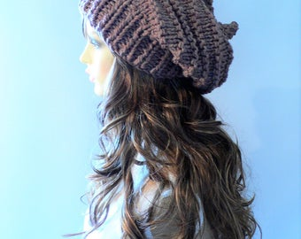 Knit Hat Women Beige Knit Hat Goth Hat Pixie Hat Slouchy Knit Hat Slouch Beanie Hand Knit Hat Knit Beanie Woodland Clothing