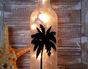 Palm Tree Wine Bottle with Lights/beach/Bar/Tiki/Gift/Tropical/Decoration/Wedding