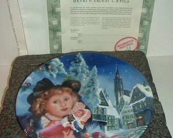 1988 Henri Darceau Limoges Christmas in Alsace Plate w Box and COA