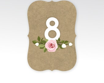 The FRANKIE . Die Cut Table Numbers . White & Craft Brown Paper . Pink Blush White Rose Wedding Seating . 5 x 7 Double Sided Printed Card