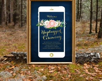 The JENNY . Unplugged Wedding Ceremony Large Printed Sign . Rose Gold Copper Calligraphy Navy Rose Blush Pink Peony Ranunculus Dusty Miller