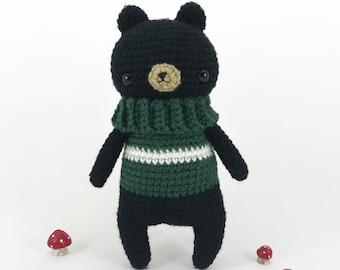 Amigurumi Black Bear, Crochet Bear, Stuffed Bear, Crochet Animal, Crochet Woodland, Amigurumi Plush, Softie Doll Bear, Stuffed Animal, Cute
