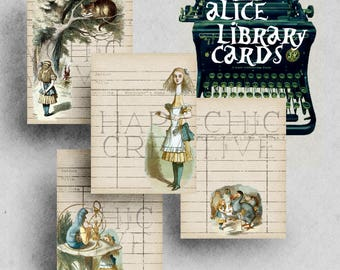 Alice in Wonderland Decorations  Library Cards  Journal Cards Printable  Vintage Ephemera  Digital Journal  Alice ClipArt   Ephemera Pack