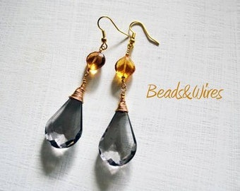 Crystal drop earrings with yellow and grey