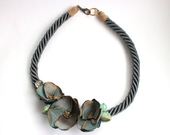 Silver Grey Flower Necklace, Modern Bib Necklace, Handmade Modern Flower Necklace