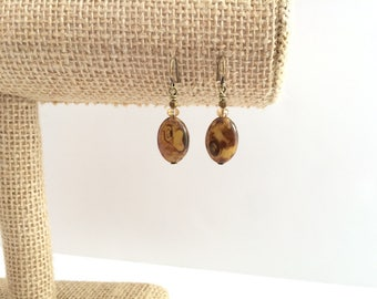 Czech glass earrings, oval bead glass bead jewelry. Antique brass earrings. Brown earrings. Simple earings. Tan crystal bead earings. Bronze