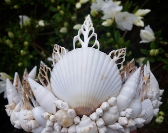 white mermaid crown, seashell crown, crown, Mermaid headpiece, seashell crown, shell crown,