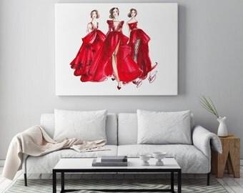 Fashion illustration, Art poster, Fashion art, Fashion painting, Fashion wall art, Fashion poster, Red wall art, Girl poster, Fashion sketch