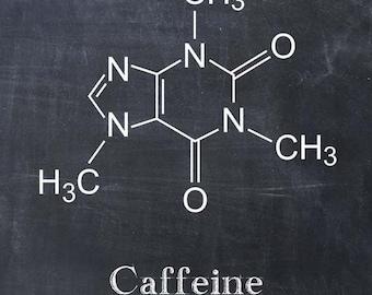 Caffeine Molecule - Coffee Art Print - Coffee Poster - Kitchen Art - Kitchen Decor - Caffeine Art - Coffee House - Chemistry Chemical
