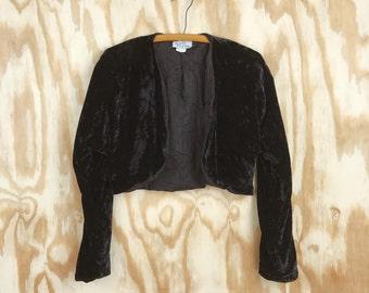 VINTAGE Black Velvet Cropped Jacket || Union Made GLAMOROUS Formal Cover Up