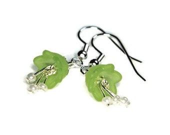 """Pale Green Lily of the Valley Flower Shaped Earrings, Lucite Flower Earrings, Little Earrings, Small Earrings, """"Faye Earrings"""""""
