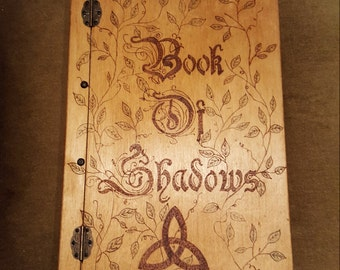 Handmade wooden Book of Shadows Diary Journal Grimore - FREE UK SHIPPING!