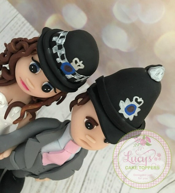 Wedding cake Topper - Fully Personalised  Bride and Groom figures - Police Couple - a lovely keepsake