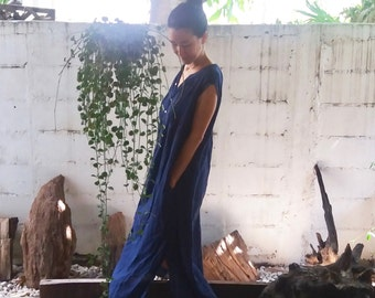 Beach Kaftan Navy Blue/ Kaftan Dress/ See Through Dress/ Resort Dress/ Navy Blue Dress/ Beach Cover Up/ Naby Blue Maxi Dress/ Caftan Dress