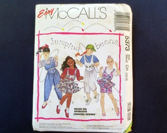1991 Jumping Beans Jumpsuit & Ruffled Jumper Uncut Vintage Pattern, Easy McCalls 5373, Girls Size 7, 8, 10, Breast 26, 27, 28
