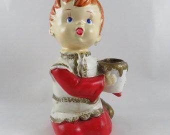 Vintage Star Co Papier Mache Christmas Caroler Candlestick Holder - Red Kneeling Boy Choir Singer