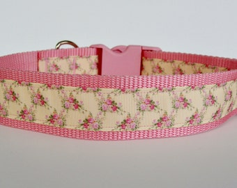 "Large Dog Valentine's Day Rose Collar Pink and Yellow  1.5"" wide - READY TO SHIP!"