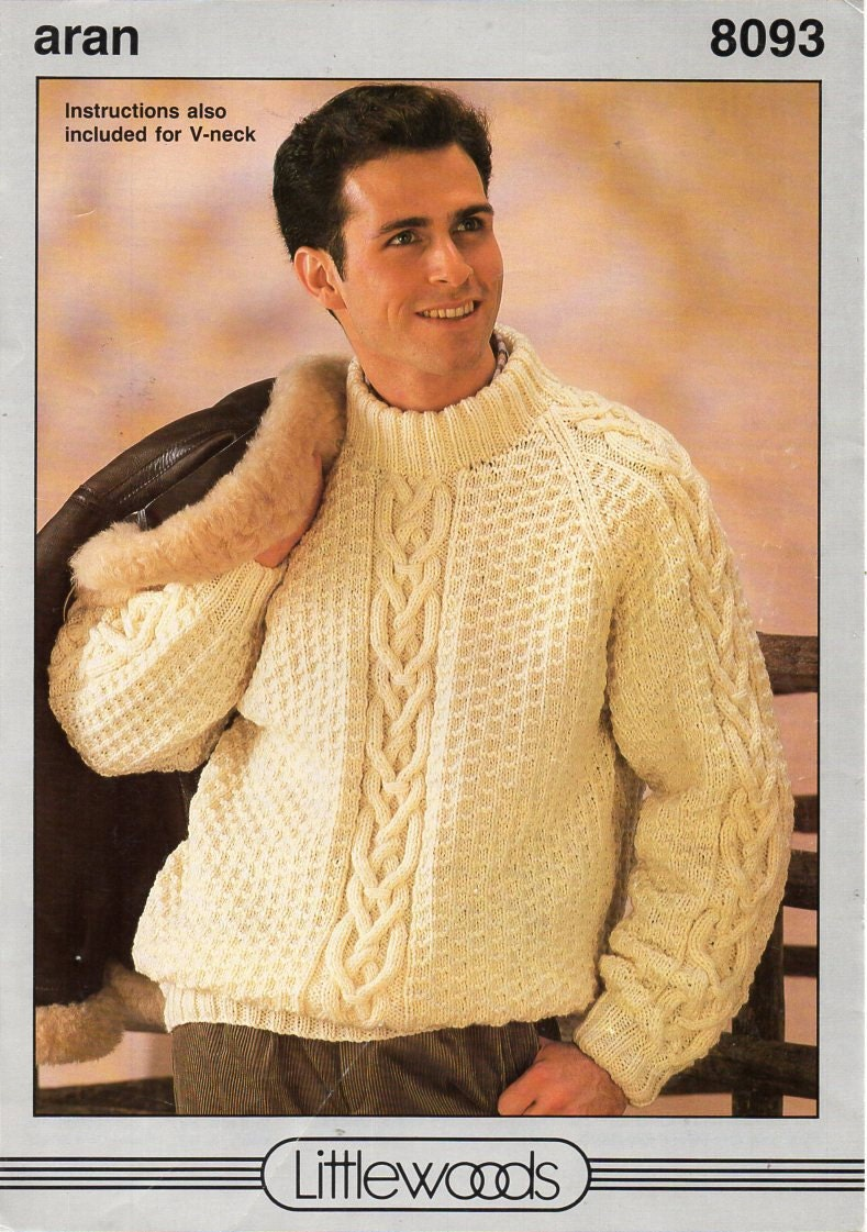 Mens aran sweater knitting pattern pdf mens cable jumper crew zoom bankloansurffo Gallery