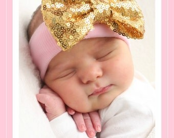 Gold Baby girl Headband, first newborn girl headband, baby girl Headband, gold baby Headbands, newborn girl Headband,
