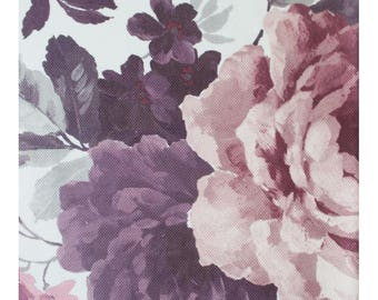 Pastel Floral Upholstery Fabric, Peony Furnishing Fabric,Durable Non-fade Drapery Fabric, Purple Grey, by the Yard/Metre, DB-369