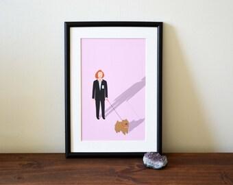 X Files A4 print - Dana Scully print - Dana Scully illustration -  Queequeg print - A4 art print - home decor - X Files illustration -