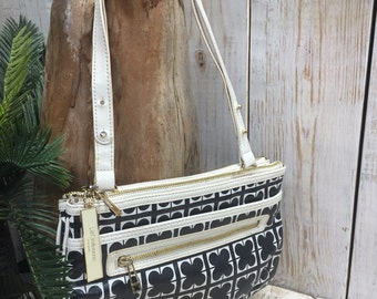 Liz Claiborne Handbags, short shoulder bag, long strap, black white purse, adjustable bag, handbag purse organizer, woman purse