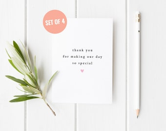 4 PACK Thank You Wedding Card, Wedding Guest Thankyou Card, Wedding Special Thank You, Bridesmaid Thank You Card, Maid of Honour Card