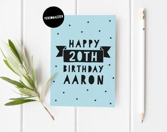 Personalised Birthday Card, Milestone Birthday Card, Custom Card, 18th Birthday Card, 21st Birthday Card, Custom Card Men, Boy Birthday Card