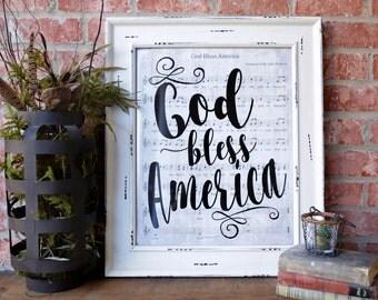 God Bless America Patriotic Art