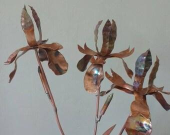 Copper iris metal sculpture