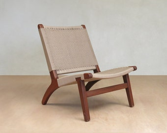 Mid Century Chair, Accent Lounge Chair, Walnut Frame Handwoven Khaki Chair, Beige, Sand Danish Modern Sustainably Sourced Tropical Hardwoods