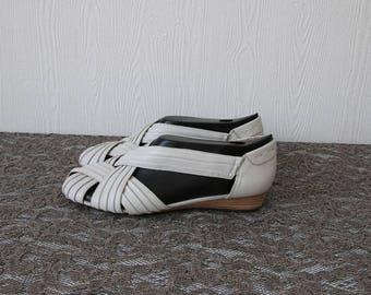 Vintage Light Gray Leather Women Low Heel Summer Sandals Shoes EUR 39 UK 6 US 8.5