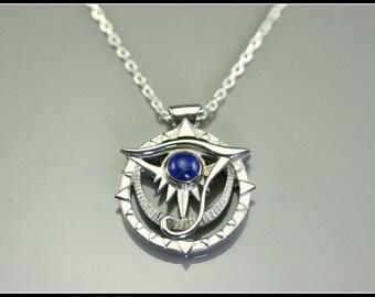 Horus eye necklace, silver egyptian necklace, ethnic necklace, lapis lazuli rond necklace,  handmade jewelry, elegant necklace