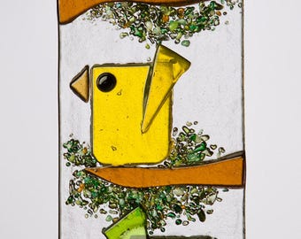 Trio of Whimsical Birds in Fused Glass ~ Aqua, Yellow & Green