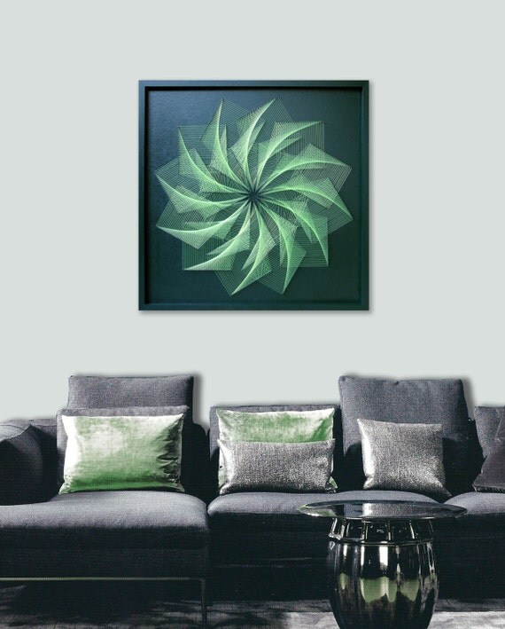 Zen Wall Art in Green Large Custom UV String Art Feng shui