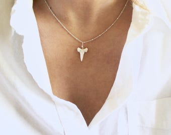 Genuine Shark Tooth Necklace On Delicate Satellite Chain
