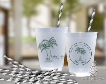 Wedding Party Cups | Personalized Frosted Cup | Tropical Palm Tree Cups | Personalized Plastic Cups | Beach Wedding Cups | social graces Co.