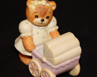 1987 Lucy Rigg, Lucy and Me Figurine, Bear in Polka Dot Dress Pushing Baby Buggy with Little Bear Inside Collectible (F054)