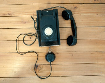 Vintage wall phone in bakelite - Old black phone 60s - Telephone PTT - French receiver - Dial phone - Retro handset - Rustic decor